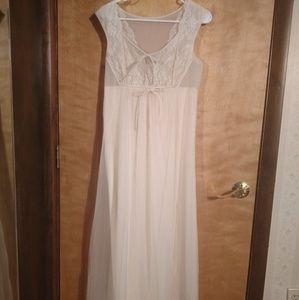 Vintage Lace Chiffon Shadowline Ivory Nightgown